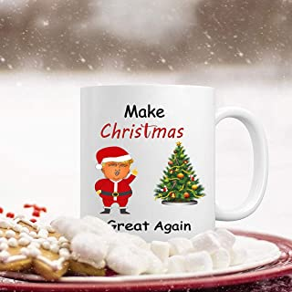 President Trump Santa Christmas Coffee Mug with Make Christmas Great Again and Xmas Tree Funny Christmas Festival Gifts for Dad Men Husband Ceramic Coffee Mug Cup 11 Ounce