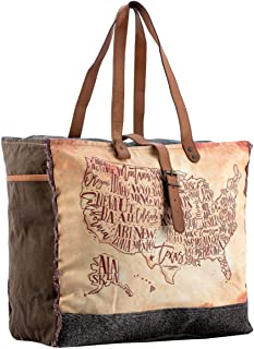 Sixtease Atlas Upcycled Canvas & Genuine Leather Weekender Bag SB-2199