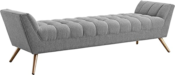Modway Response Mid Century Modern Bench Large Upholstered Fabric In Expectation Gray