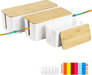MOOACE Cable Management Box Set of 3, Electrical Cord Organizer with Cable Clips and Reusable Cable Ties, Hide Power Strip...