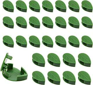 ZYAMY 30pcs Invisible Leaf Shape Plant Clips for Climbing Plants, 1.3x0.5 Inches Plastic Self-Adhesive Plant Garden Vegeta...
