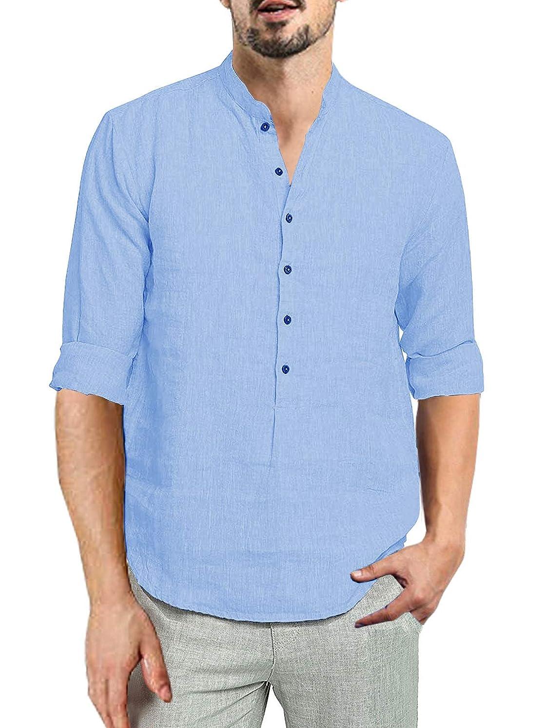 Beotyshow Mens 3/4 Sleeve Cotton Linen Button Front Placket Pullover Shirts Plain Hippie Henley Shirts for Men