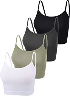 Boao 4 Pieces Spaghetti Strap Tank Cami Crop Tank Top Adjustable Camisole for Yoga Sports Sleeping