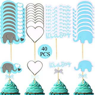 40 Pieces Elephant Cupcake Toppers Cake Topper Pick Decoration for Baby Shower Boy's Party Supplies