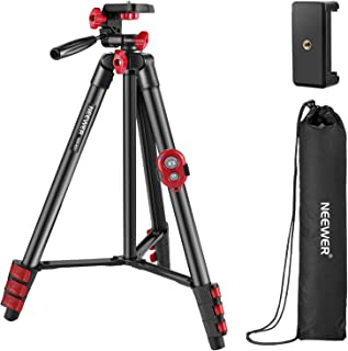 Neewer Tripod Kit, 54-Inch Travel Tripod with Pan Head, Remote, Carrying Bag and Phone Clamp, Compatible with Smartphones,...
