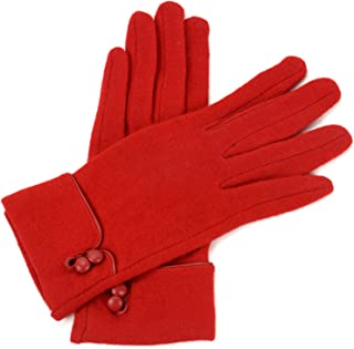 red leather gloves with buttons