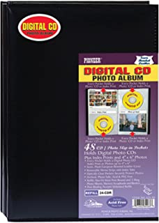Pioneer Photo Albums 48 Pocket European Bonded Leather Digital CD Photo Album, Black