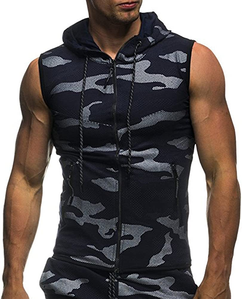 WUAI-Men Summer Mens Sleeveless Inexpensive Hoodie Slim Tank Workout Fi A surprise price is realized Tops