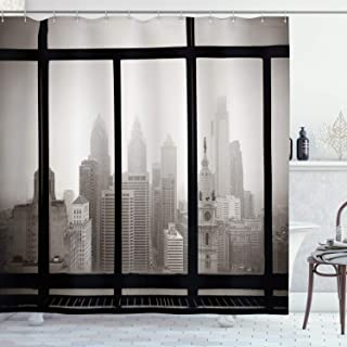 Ambesonne City Shower Curtain, Philadelphia City Rooftop View Through Window Skyline Landmark Rooftop Travel, Cloth Fabric Bathroom Decor Set with Hooks, 70