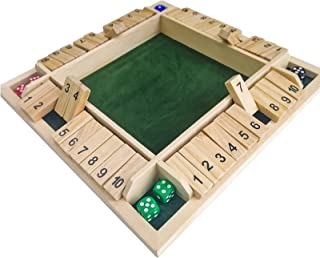 Shut The Box Wooden Dice Game - 1-4 Players,8 Dice - 12×12×1.5 Inches 4-Way Wooden Board Game - Natural Color - for Kids &...