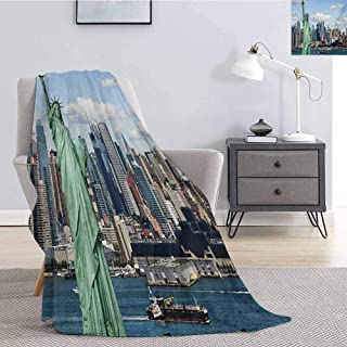 New York Children's Blanket Statue of Liberty in NYC Harbor Urban City Print Famous Cultural Landmark Picture Lightweight Soft Warm and Comfortable W70 x L90 Inch Mint Blue