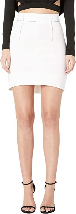 High-Waisted Mini Skirt with Curved Hem and Topstitching