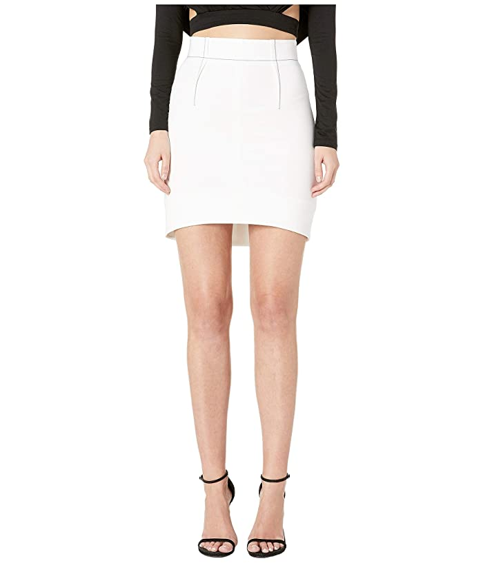 Cushnie High-Waisted Mini Skirt with Curved Hem and Topstitching (White) Women's Skirt