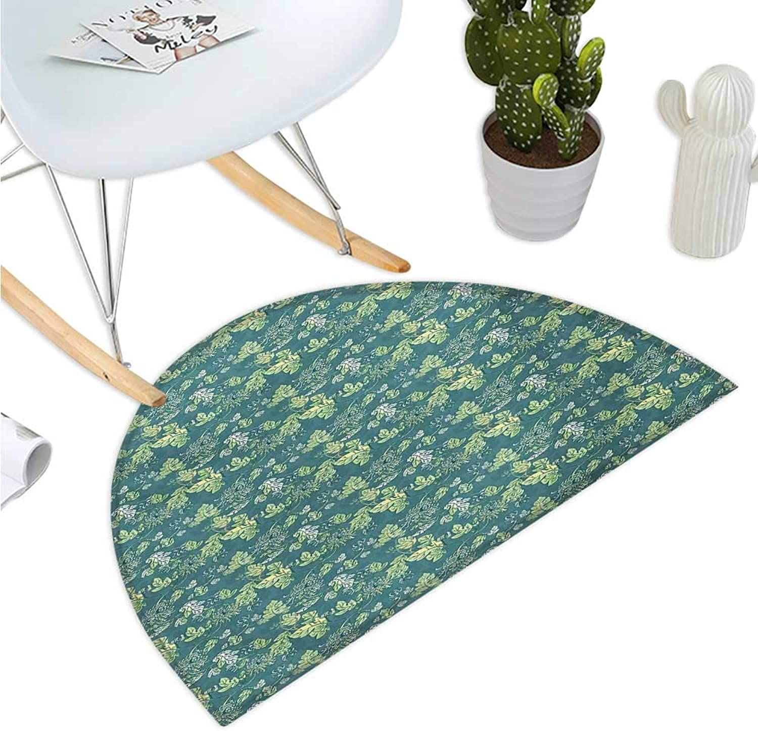 Leaves Semicircle Doormat Pale colord Foliage with Curly Stems Abstract Illustration of Nature Halfmoon doormats H 47.2  xD 70.8  Pale Green Teal White