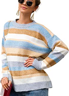 Bibowa Women's Slouchy Sweater Long Sleeve Baggy Knitted Pullover Sweater Casual