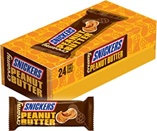Creamy SNICKERS Peanut Butter Single Size Square Candy Bars, 1.4-Ounce Bars 24-Count Box