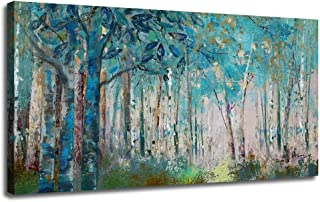 Ardemy Canvas Wall Art Blue Tree Forest Landscape Picture Prints, Modern Birch Trees Nature Woods 48