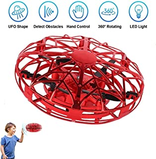 JCT UFO Flying Ball Toys Mini Drone for 4-10Years Kids Hand Controlled Flying Toys, Infrared Induction Helicopter Ball with360° Rotating and LED Lights for Children Boys Girls Kids Toys Gifts (Red)