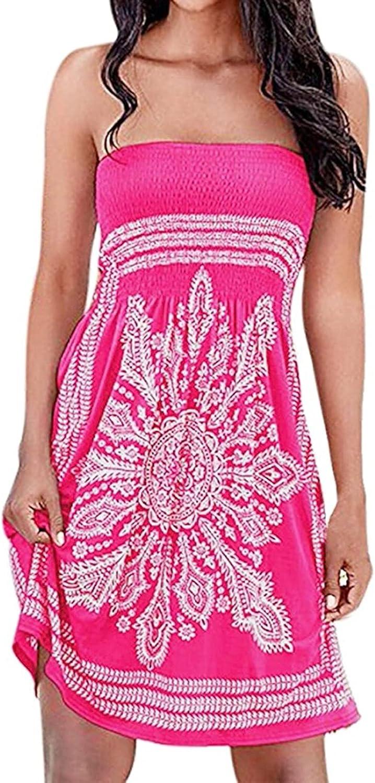 VithconlZQ Dresses,Women's Summer Fashion Dress Sleeveless Tube Top Strapless Mid Dress