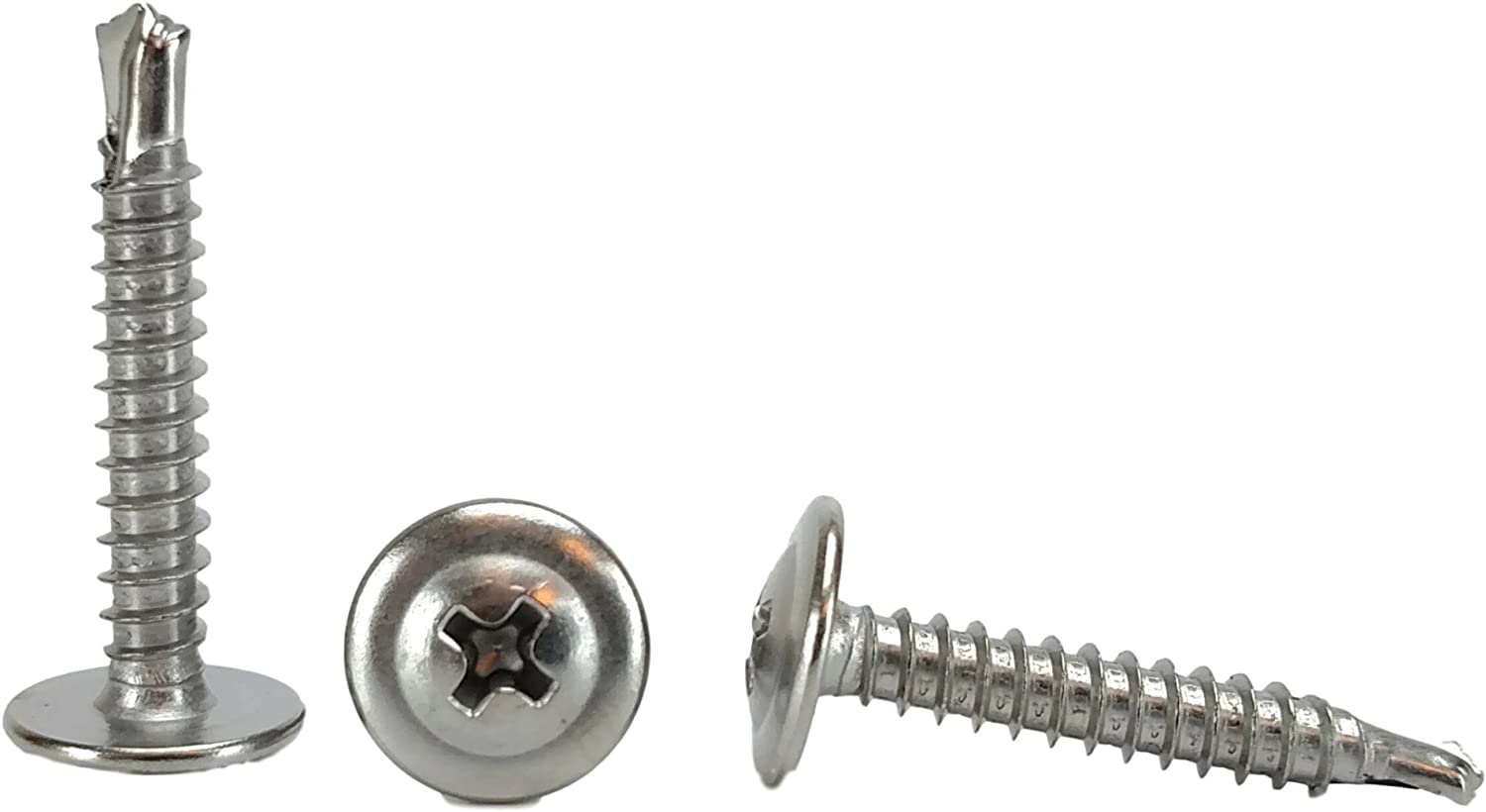 Bright Finish #10 x 5//8 Flat Head Sheet Metal Screws Stainless Steel 18-8 Full Thread Self-Tapping Quantity 100 by Fastenere Phillips Drive