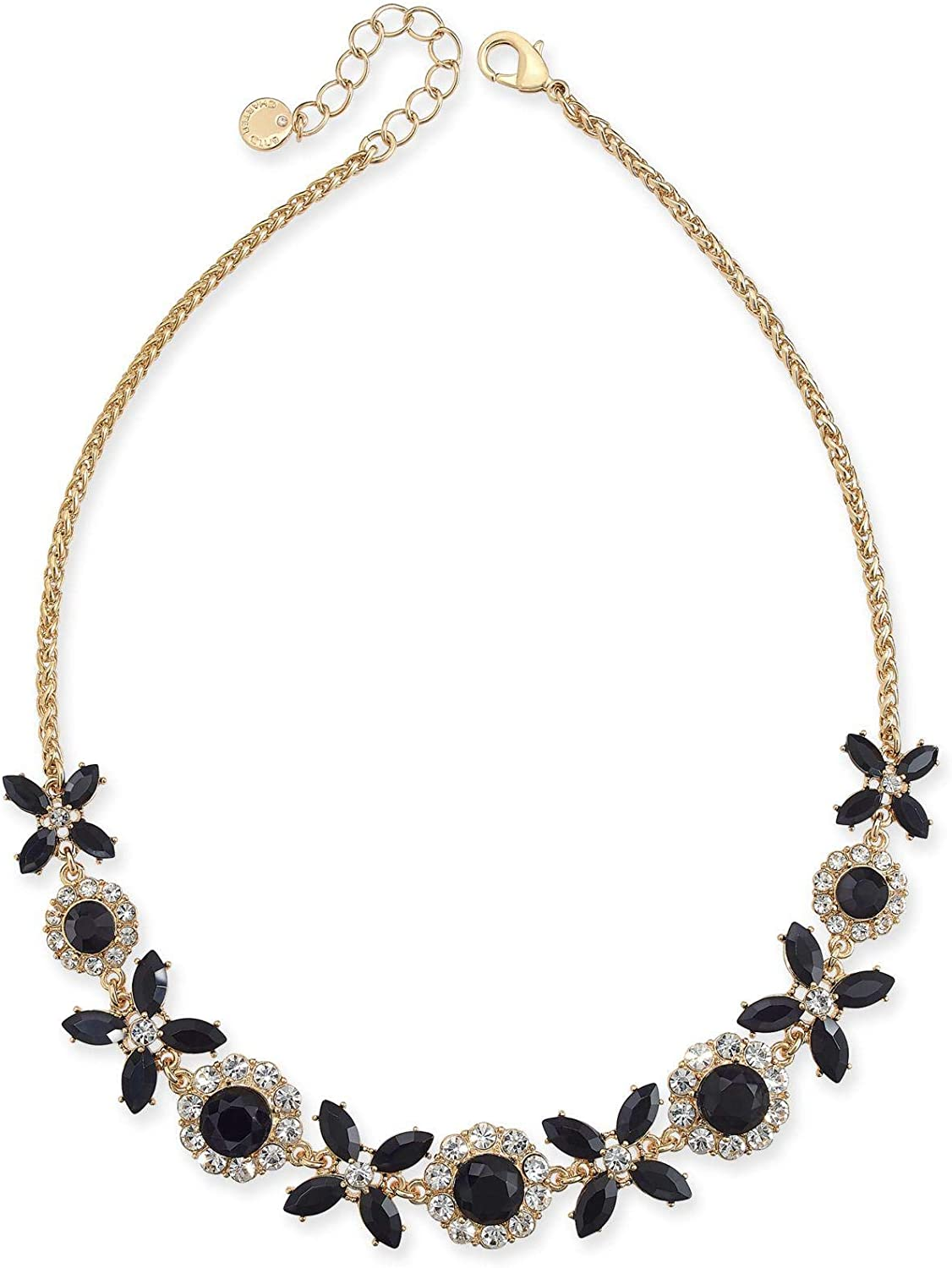 Charter Club Gold-Tone Crystal & Stone Collar Necklace, 17