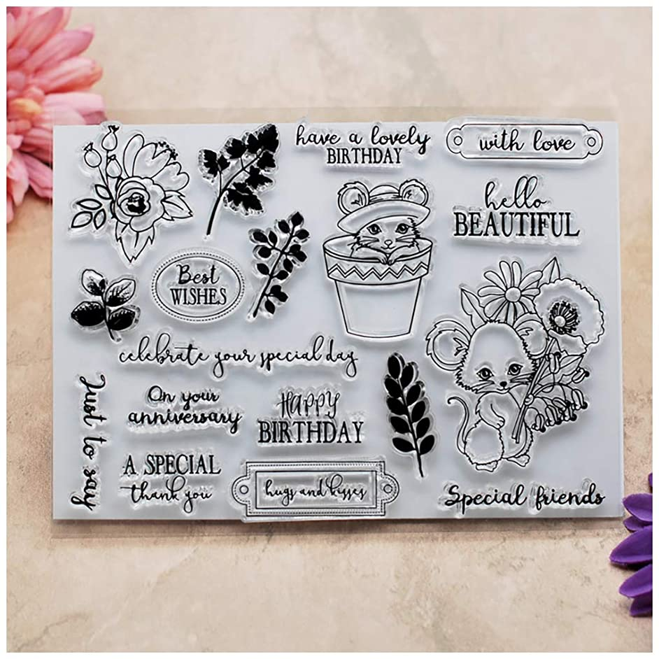 Kwan Crafts Birthday Cat Special Friends Flowers Best Wishes With Love Clear Stamps for Card Making Decoration and DIY Scrapbooking