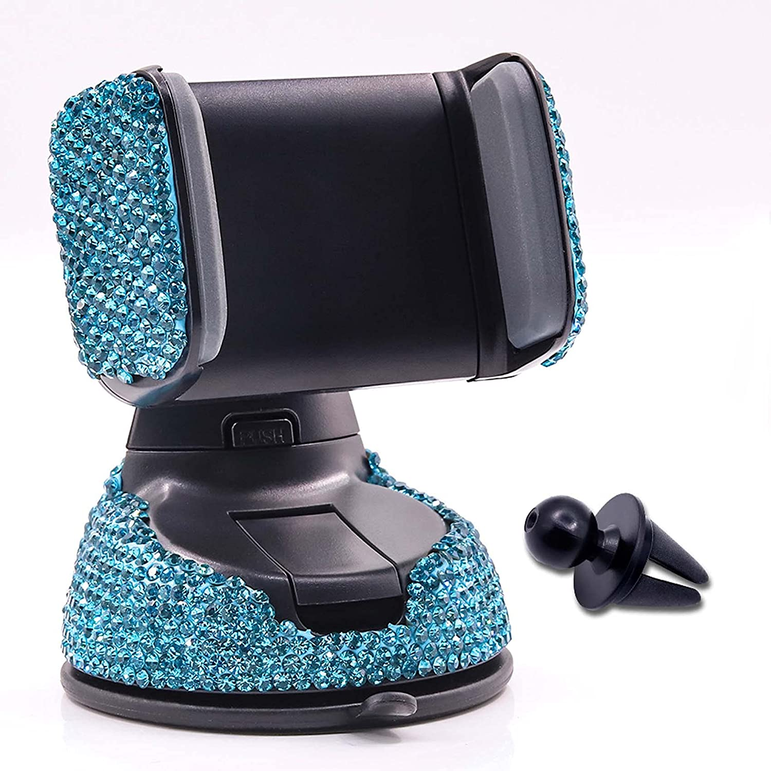 Bling Rhinestone Car Phone Holder Windshield Dashboard Mount Adjustable Phone Holder for Easy View GPS Screen Compatible with iPhone 5 6s 7 8s 9 10 SE XS XR S20 (Lake Blue)