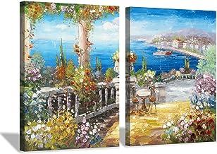 Hardy Gallery Italy Coastal Picture Wall Art: Abstract Mediterranean Coastal Painting Italian Garden Artwork for Kitchen (...