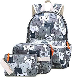 Kemy's Cat Backpack Set for Girls Kitty School Bookbag 3 Pieces Cute Rainbow Book Bags 14inch Laptop Bag for Girl, Gray