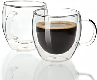 Sweese 4601 Espresso Cups Shot Glass Coffee 5 oz Set of 2 - Double Wall Insulated Glass Mugs with Handle, Everyday Coffee Glasses Cups Perfect for Espresso Machine and Coffee Maker