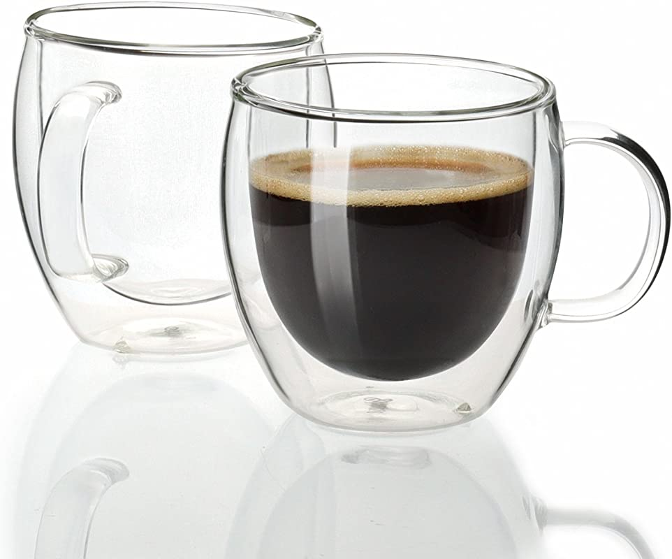 Sweese 4601 Espresso Cups Shot Glass Coffee 5 Oz Set Of 2 Double Wall Insulated Glass Mugs With Handle Everyday Coffee Glasses Cups Perfect For Espresso Machine And Coffee Maker