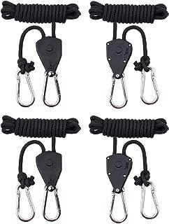 "MAXSISUN 2-Pair 1/8"" Adjustable Heavy Duty Rope Clip Hanger, Grow Light Ratchet Hanger, 150lbs Weight Capacity"