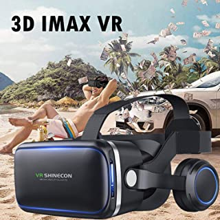 VR Headset, 3D Viewing Gl for 3D Audio & Video, Movie & Game Display Cell Phone VR Headset with Headphones Compatible for ...