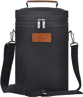 Tirrinia 2 Bottle Wine Tote Carrier - Leakproof & Insulated Padded Versatile Wine Cooler Bag for Travel, BYOB Restaurant, ...