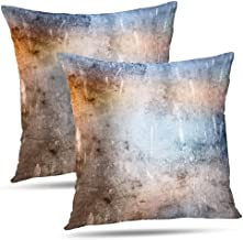 ONELZ Throw Pillow Covers, Colorful Dark Abstract Aged Aging Ancient Antique Art Backdrop Blue Border Bright Double-Sided ...
