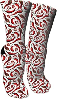 Funny Socks Chili Pepper Pattern Crazy Novelty Socks For Men Women Running,Athletic,Nursing.