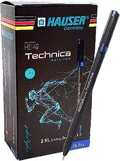 25 x Hauser Germany Smooth Low-Viscosity Ballpoint Stick Pens,Medium Point 0.7mm Needle Nib - Blue