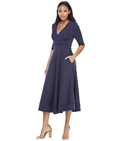Maggy London Classic Fit-and-Flare Dress (Navy) Women