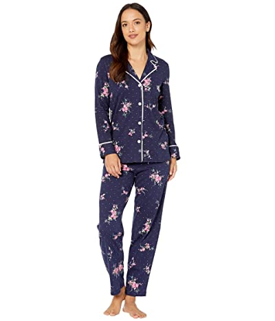 LAUREN Ralph Lauren Petite Classic Knits Long Sleeve Notch Collar Long Pants Pajama Set (Navy Print) Women