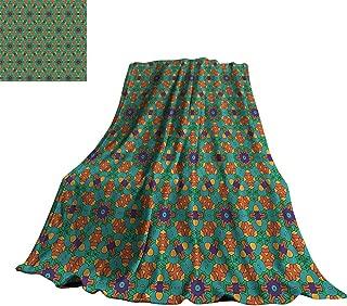 Orange Blanket Sheets Living Room Decor for India Ethnic Design Lovers Floral Print 30