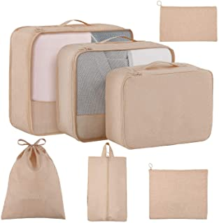 Packing Cubes for Travel 7 Set, Luggage Packing Organizers with Shoe Bag and Toiletry Bag (Beige)
