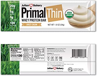 Julian Bakery Primal Thin® 20g Protein Bar (Sweet Cream)(Organic Grass Fed Whey) (130 Cal) (1g Sugar) (1 Net Carb) (Gluten-Free) (12 Bars)