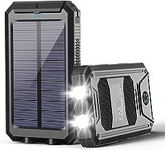 Solar Power Bank, Portable Solar Charger 20,000mAh Waterproof External Battery Pack Type C Input Port Dual Flashlight, Com...