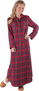 Image of A Customer Favorite: Women's Long Red Flannel Nightgown - See More Colors