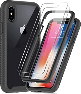 iPhone X Case, iPhone Xs Case with 2 Tempered Glass Screen Protector, LeYi Full-Body Shockproof Rugged Hybrid Bumper Heavy Duty Clear Protective Phone Cover Cases for iPhone X/iPhone Xs, Black