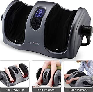 TISSCARE Foot Massager Machine with Heat,Deep-Kneading for Foot Calf Leg Arm, Plantar Fasciitis, Chronic Nerve Pain, Tired Muscles w/Adjustable bar