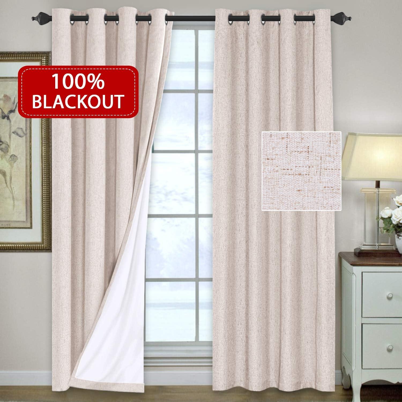 H.VERSAILTEX 100% Blackout Linen Look Waterproof Natural Curtains Bedroom Blackout Drapes 96 inches Long Grommet Window Treatment Curtain Draperies, 2 Panels