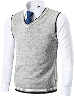 Mens Casual Slim Fit Lightweight V-Neck Sweater Vest Thermal Knitted Jumper Long Sleeve Sweater Pullover