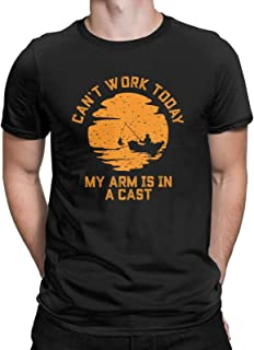 Can't Work Today My Arm is in a Cast Funny Graphic T-Shirt Fishing Fisherman Boat Tees Tops for Men