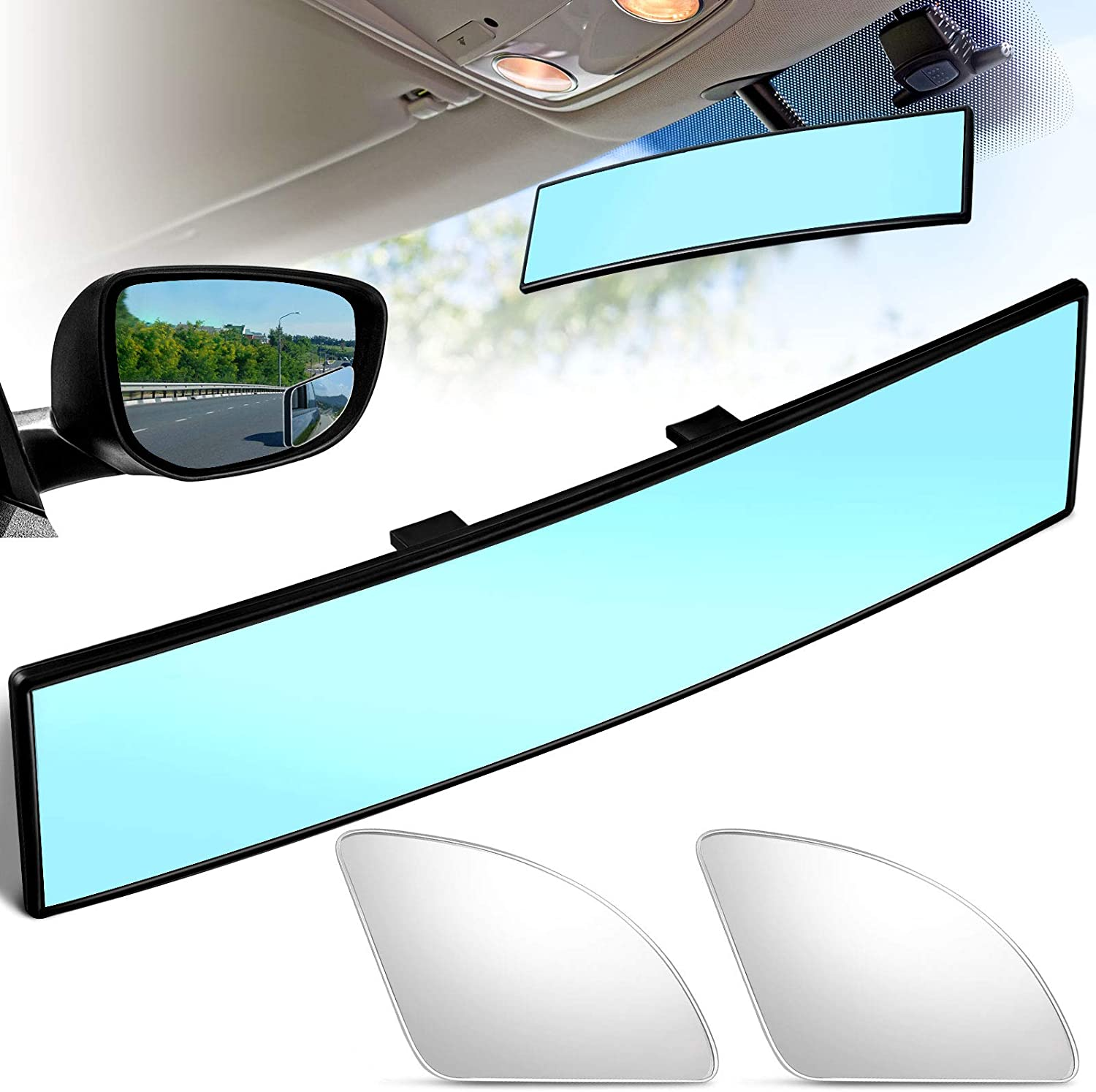 Car Interior Rear View Mirror 300 mm Convex Rearview Mirror Wide Angle Mirror and Blind Spot Mirrors Fan Shaped Car Side Mirrors for Car SUV Truck White